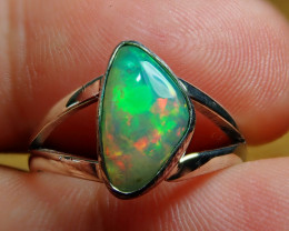 6.5sz. Blazing Welo Solid Opal Sterling Silver Ring