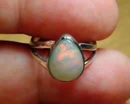 6sz. Blazing Welo Solid Opal Sterling Silver Ring