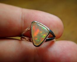 7sz. Blazing Welo Solid Opal Sterling Silver Ring