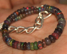 26 Crt Natural Ethiopian Welo Fire Smoked Opal Beads Bracelet 382