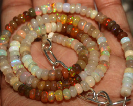 46 Crts Natural Ethiopian Welo Fire Opal Beads Necklace 1005