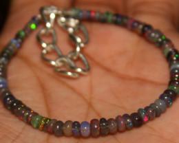 18 Crt Natural Ethiopian Welo Fire Smoked Opal Beads Bracelet 392