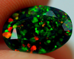 1.17cts FLORA FLASH Ethiopian Faceted Smoked Opal JJ11