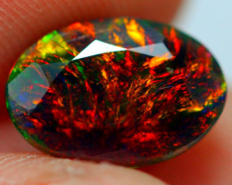 1.35cts RED FIRE 5/5 Ethiopian Faceted Smoked Opal JJ18