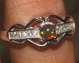 Natural Ethiopian Welo Smoked Opal 925 Silver Ring Size (8 US) 19