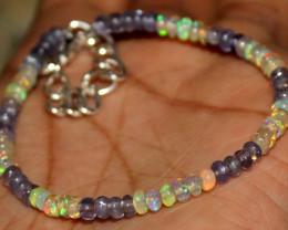 18 Crt Natural Ethiopian Welo Opal & Tanzanite Beads Bracelet 465