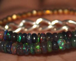 14 Crts Natural Welo Smoked Opal & Golden Pyrite Beads Bracelet 332