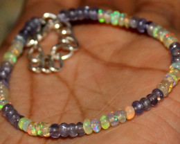 15 Crts Natural Welo Opal & Tanzanite Beads Bracelet 458