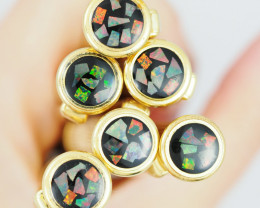 Clearance 6 wide opal gold rings s OPJ 2090