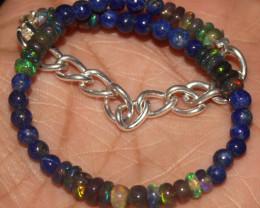 22 Crts Natural Welo Smoked Opal & Lapis Lazuli Beads Bracelet 432