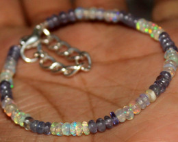 14 Crts Natural Welo Opal & Tanzanite Beads Bracelet