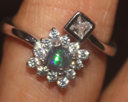 Natural Ethiopian Welo Smoked Opal 925 Silver Ring Size (6 US) 10