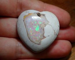 50ct. Heart Mexican Matrix Cantera Multicoloured Fire Opal