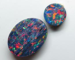 12mm  x 9 mm & 6mm 2- Stone Australian Doublet Opal Parcel