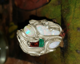 Size 10 Opal, garnet, and emerald ring