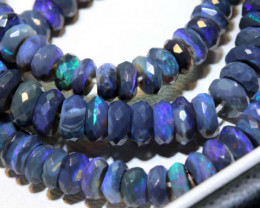 90 CTS BLACK OPAL FACETED BEADS STRAND TBO-9218