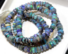 56 CTS L RIDGE DARK BASE OPAL FACETED BEADS STRAND TBO-9525