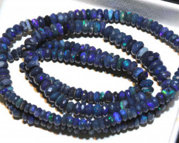 54 CTS L RIDGE BLACK OPAL FACETED BEADS STRAND TBO-9250