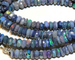 51.9 CTS L RIDGE BLACK OPAL FACETED BEADS STRAND TBO-9251