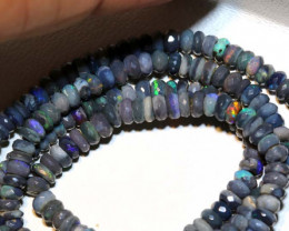 43.90 CTS L RIDGE BLACK OPAL FACETED BEADS STRAND TBO-9252