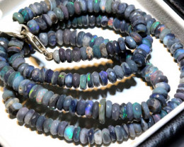 75.9 CTS  L RIDGE BLACK OPAL FACETED BEADS STRAND TBO-9253