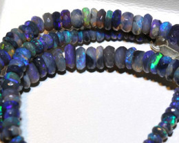 68.70 CTS  L RIDGE BLACK OPAL FACETED BEADS STRAND TBO-9263