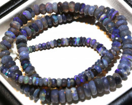71.50 CTS  L RIDGE BLACK OPAL FACETED BEADS STRAND TBO-9265