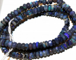 60 CTS  L RIDGE BLACK OPAL FACETED BEADS STRAND TBO-9266