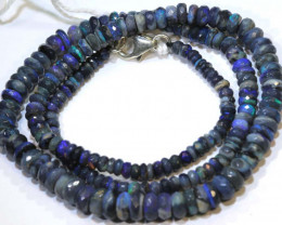 61 CTS  L RIDGE BLACK OPAL FACETED BEADS STRAND TBO-9272