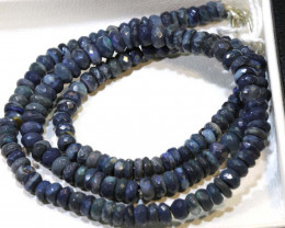 62 CTS  L RIDGE BLACK OPAL FACETED BEADS STRAND TBO-9276
