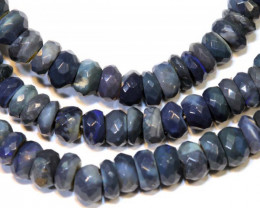 48 CTS  L RIDGE BLACK OPAL FACETED BEADS STRAND TBO-9287