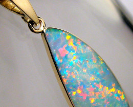 Australian Opal Pendant 5ct 14k Gold Authentic Genuine Inlay Jewelry Gift B