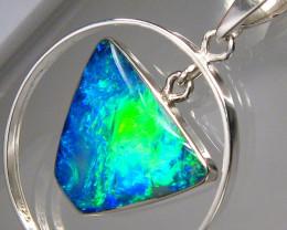 Australian Opal Pendant Silver Bright Emerald Fire Hoop Gift Gem 10.3ct #A9