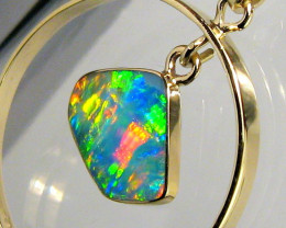 Rare Australian Opal Pendant 14kt Gold Genuine Natural Jewelry 8ct Gift B19