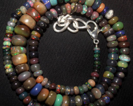 60 Crt Natural Ethiopian Welo Fire Smoked Opal Beads Necklace 124