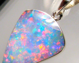 Rare Opal Pendant 14k White Gold Genuine Natural Australian Gem Gift 6.9ct