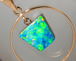 Australian Opal Pendant 14kt Pink Gold Genuine Natural Jewelry 10.5ct Gift