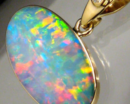 Genuine Australian Opal & Diamond Pendant Inlay Jewelry 14k Gold Gift 6.2ct