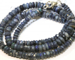 78.50 CTS  L RIDGE BLACK OPAL FACETED BEADS STRAND TBO-9294