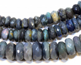 50.70 CTS  L RIDGE BLACK OPAL FACETED BEADS STRAND TBO-9295