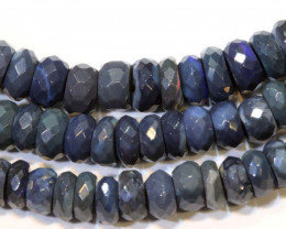 59.70 CTS  L RIDGE BLACK OPAL FACETED BEADS STRAND TBO-9296