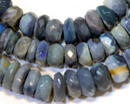 50 CTS  L RIDGE DARK BASE OPAL FACETED BEADS STRAND TBO-9297