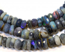 45 CTS  L RIDGE DARK BASE OPAL FACETED BEADS STRAND TBO-9298