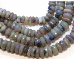 50.40 CTS  L RIDGE DARK BASE OPAL FACETED BEADS STRAND TBO-9300