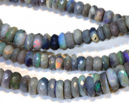62.90 CTS  L RIDGE DARK BASE OPAL FACETED BEADS STRAND TBO-9301