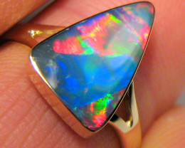 Opal Ring Size 7 14k Natural Australian Solitaire Inlay Gem Jewelry Gift 2g