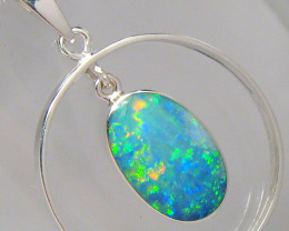 Australian Opal Pendant Sterling Silver Hoop Necklace Gift Inlay Gem 8ct #A