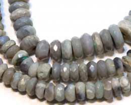 57.1 CTS  L RIDGE DARK BASE OPAL FACETED BEADS STRAND TBO-9302