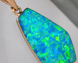 Opal Pendant 7.2ct 14k Pink Gold Genuine Australian Inlay Jewelry Gift Gem