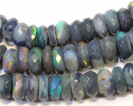59.10 CTS  L RIDGE DARK BASE OPAL FACETED BEADS STRAND TBO-9303